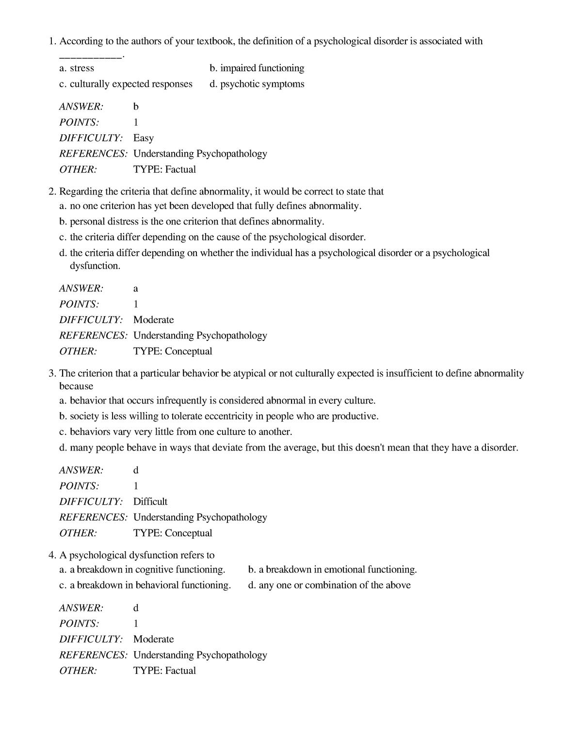 Exam 2016 Psy 240 Abnormal Psychology Studocu