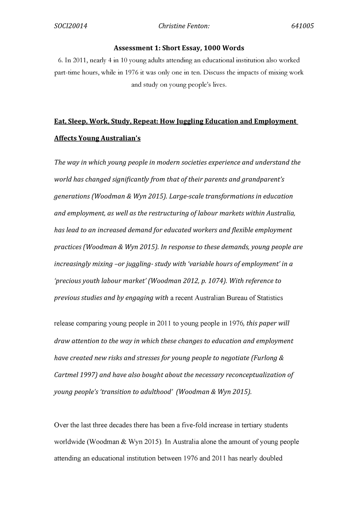 essay how juggling education and employment affects young  essay how juggling education and employment affects young australians     grade ha   soci sociology of youth   studocu
