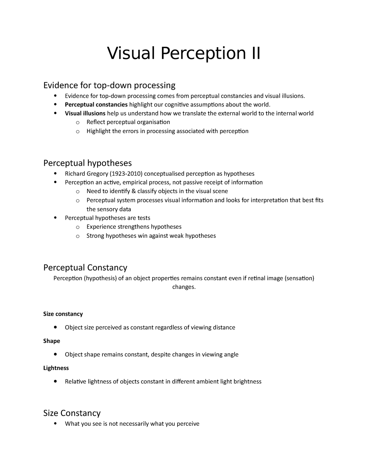 Visual Perception II - PSYC1036: Introduction to Psychology