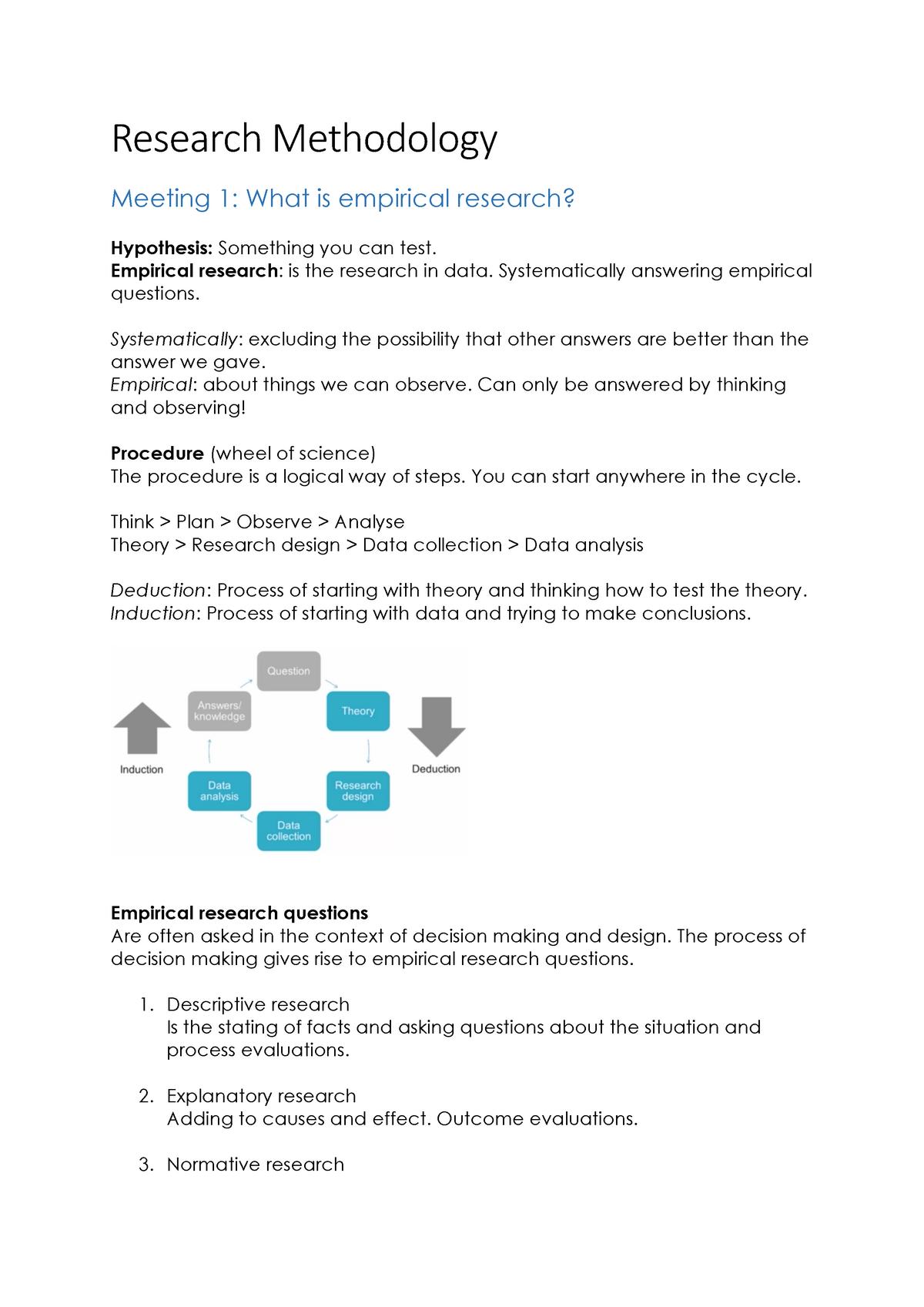 Research Methodology study notes - 201300063 - StudeerSnel