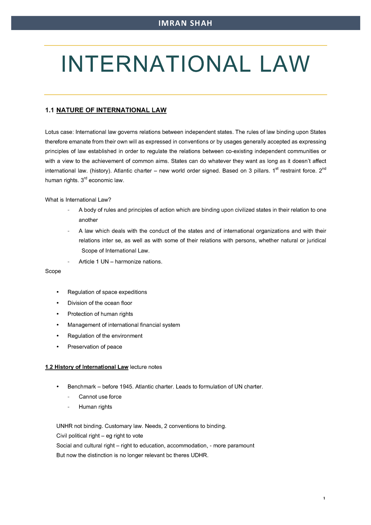 Public International 1 (Law Lecture Notes) - Imran Shah