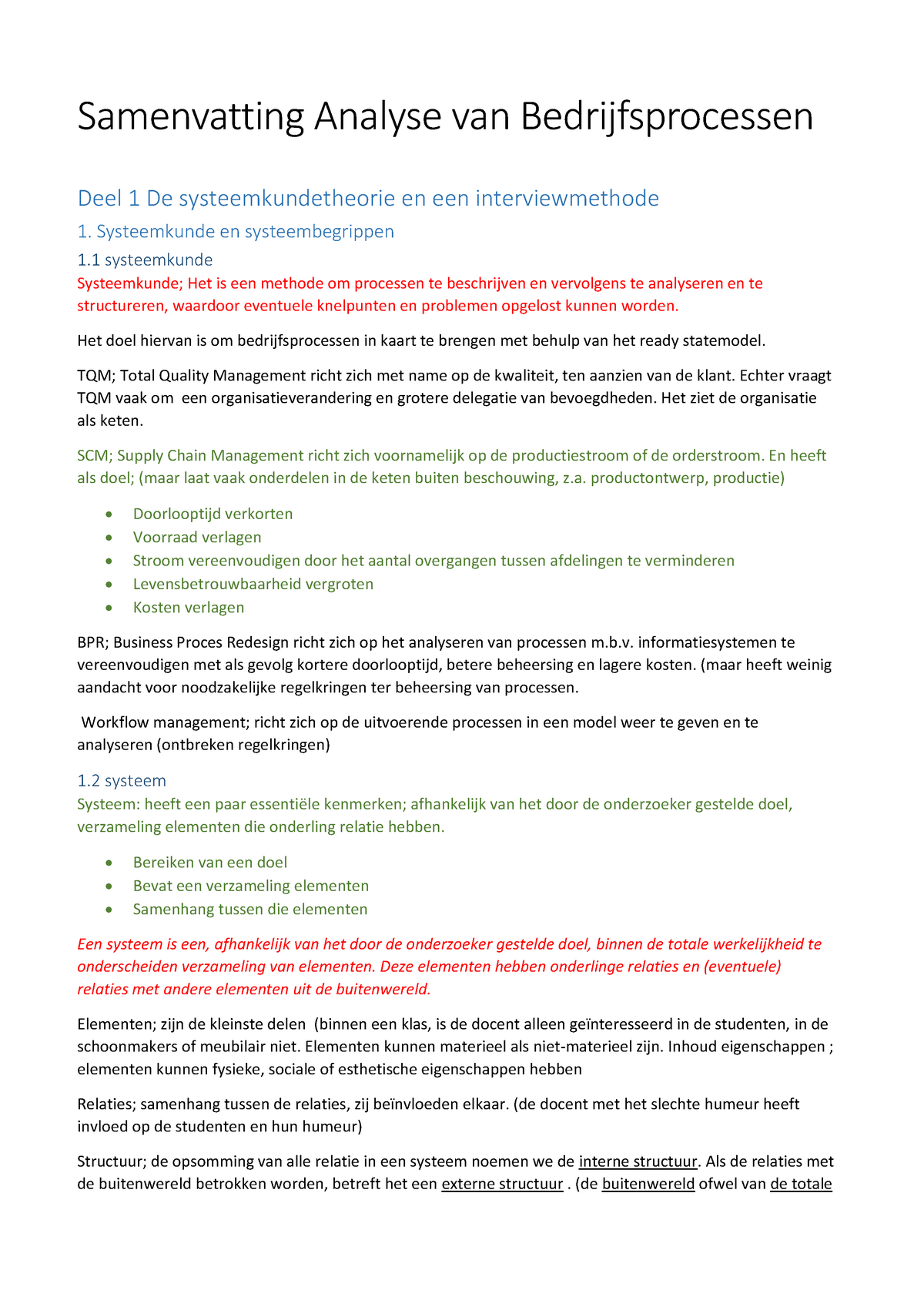 10afc894777632 Samenvatting Analyse van bedrijfsprocessen Jan in 't - StudeerSnel.nl