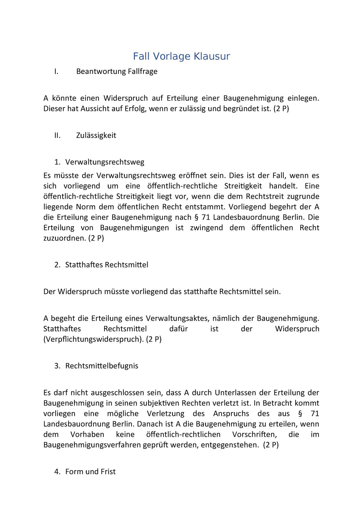 Fall Vorlage Klausur Zusammenfassung Planungs Und Umweltrecht Fall Vorlage Studocu