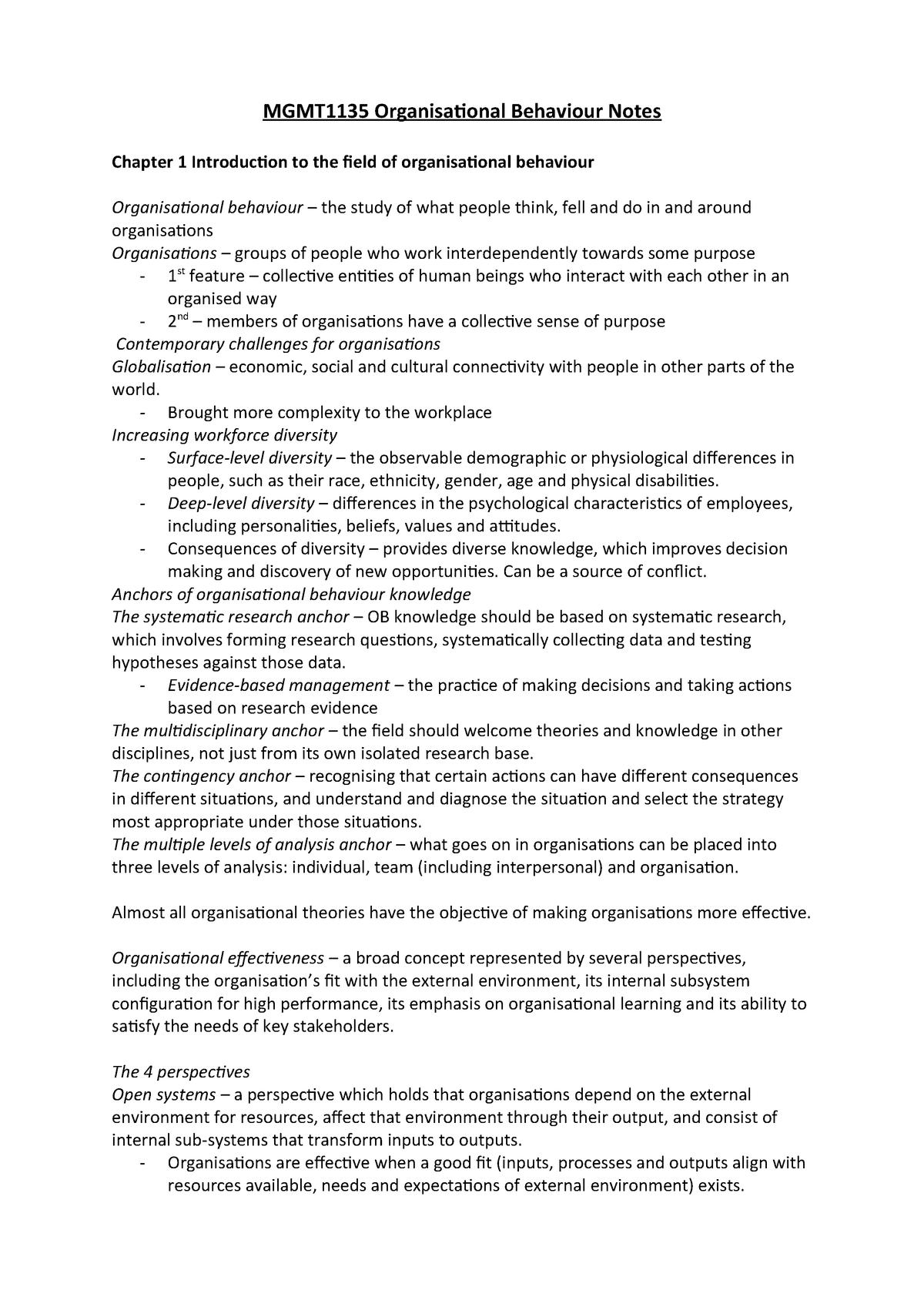 MGMT1135 Organisational Behaviour Comprehensive Notes
