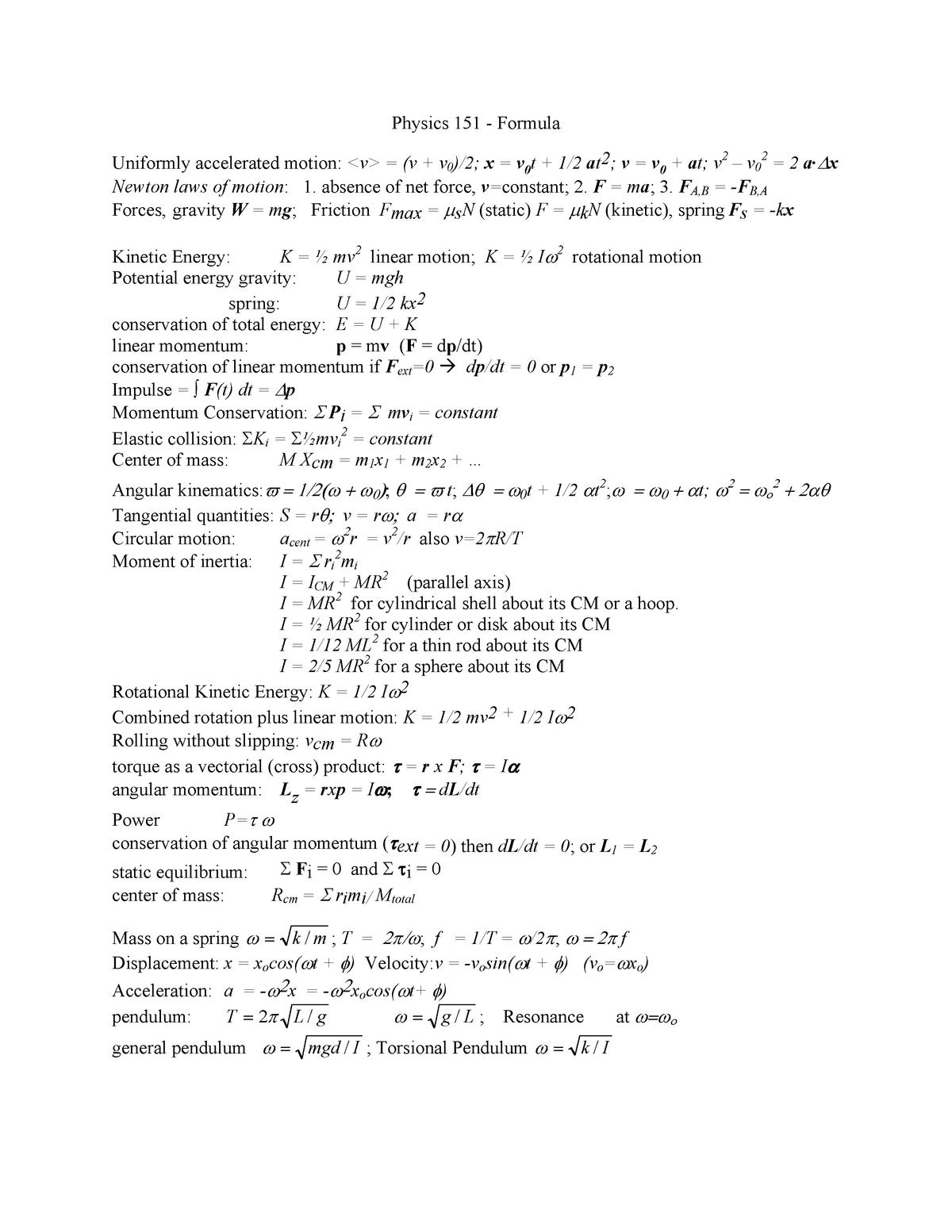 Summary - Physics 151 - formula - PHYS 1501Q - UConn - StuDocu