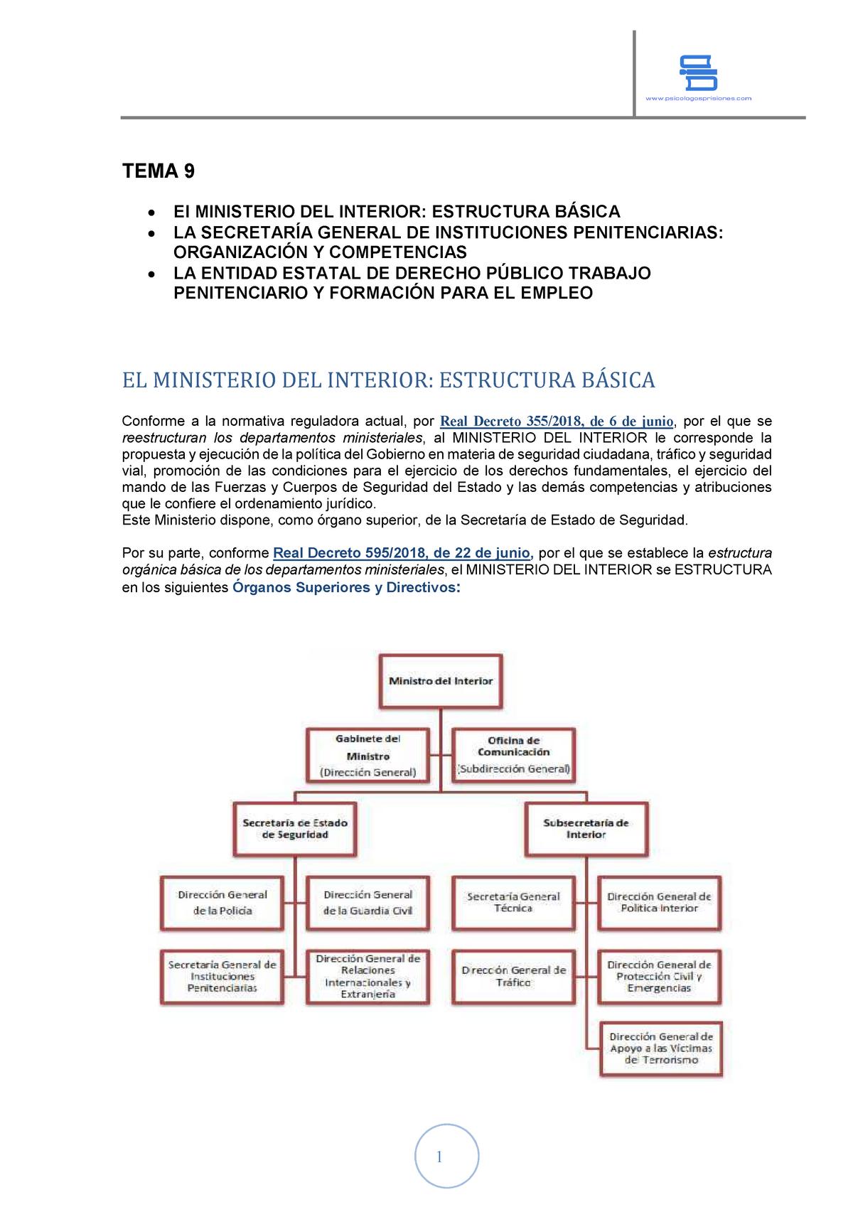 Tema 9 Estructura Orgánica Del Ministerio Del Interior