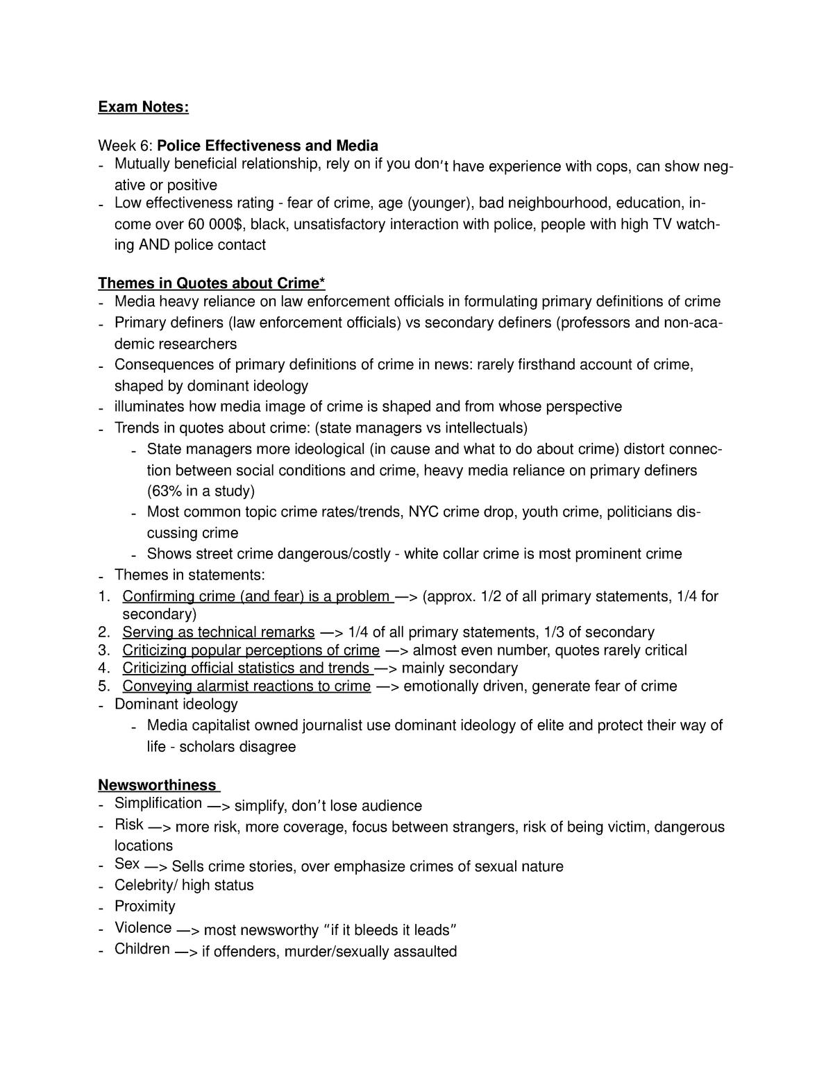 Police and Society Exam Notes - Soc3750: Police in Society