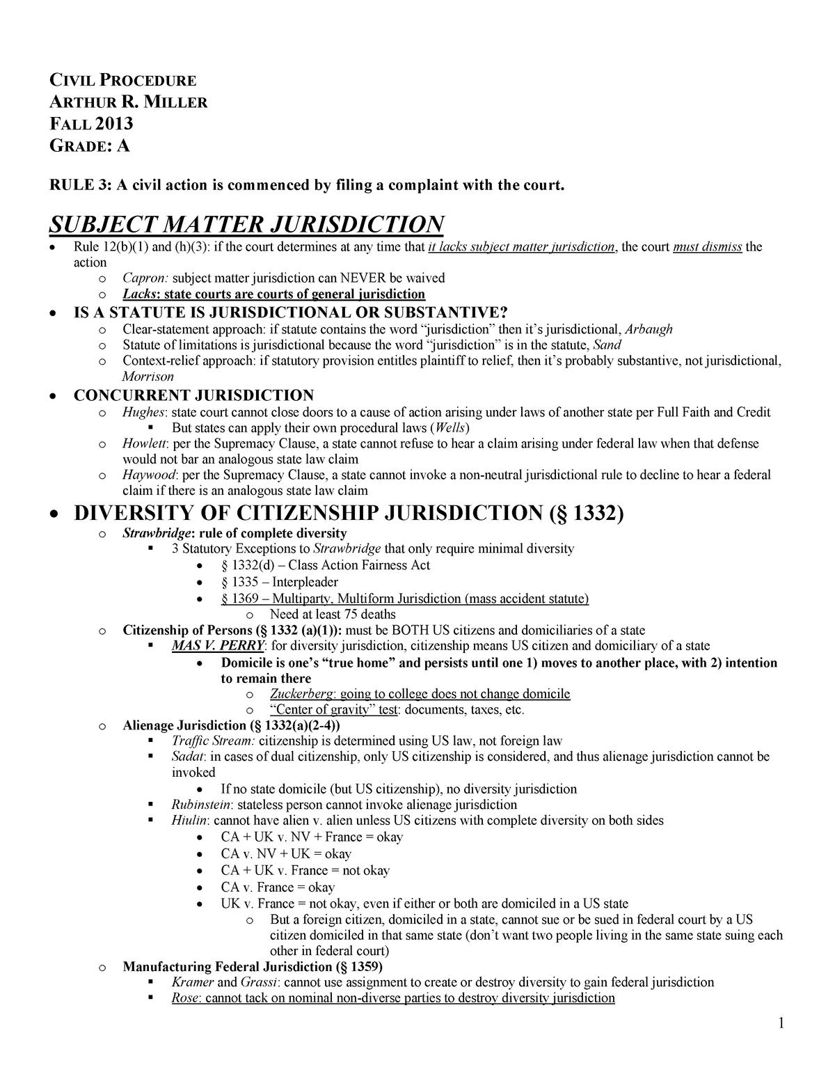 Civil Procedure - LAW 6300 - StuDocu