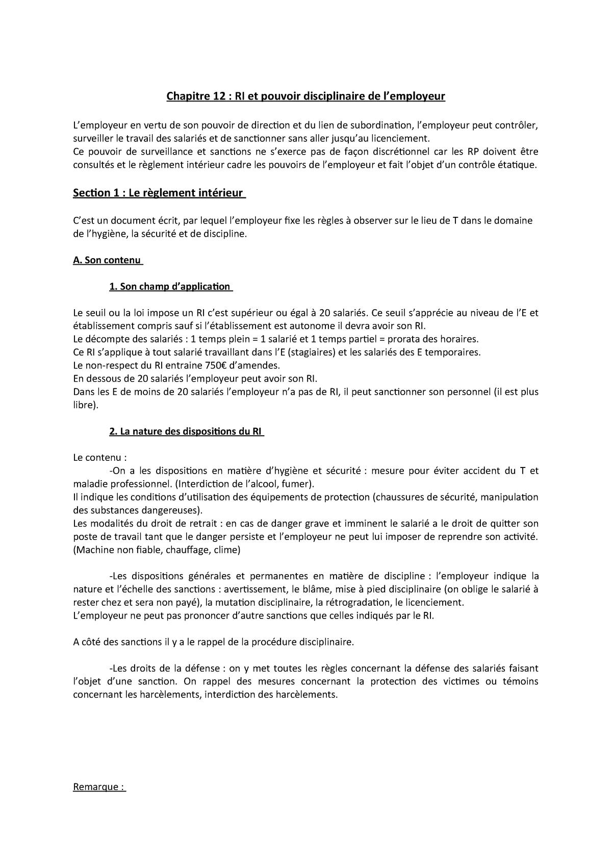 1240030 Chapitre Pouvoir Règlement Intérieur Et 12 Disciplinaire dBoerCxW