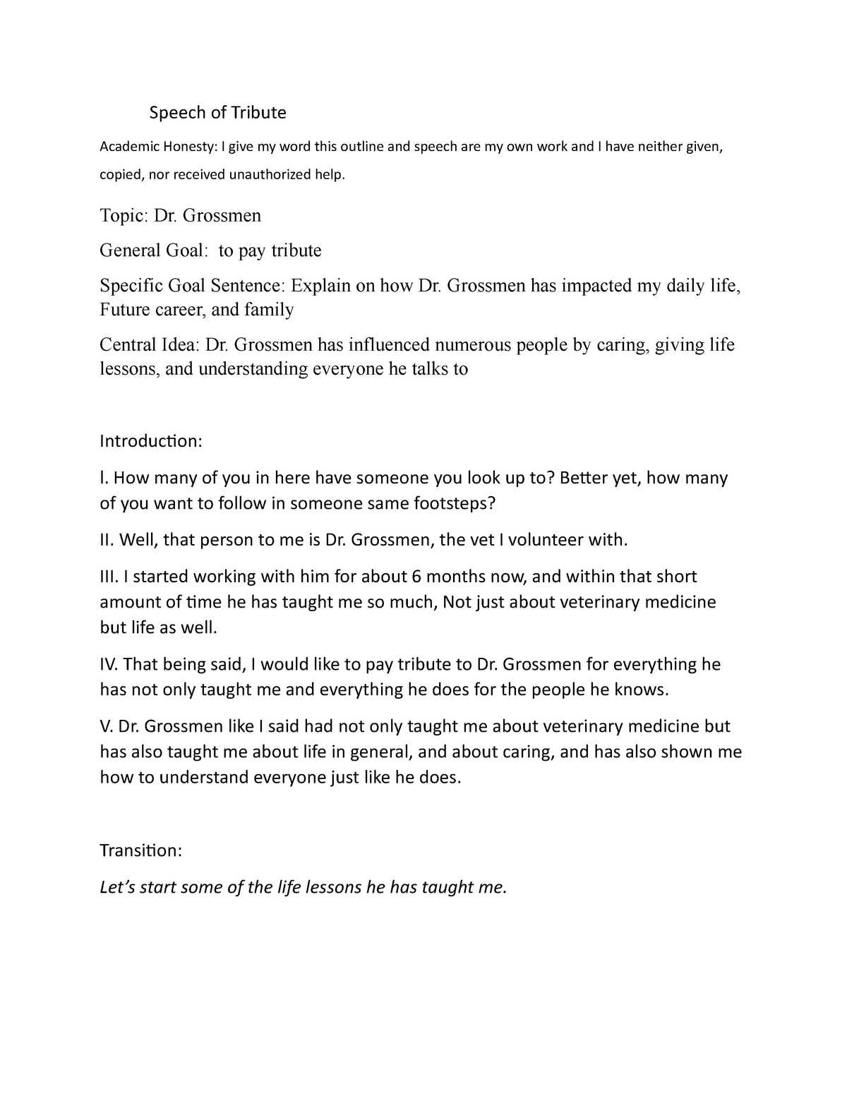 Tribute speech - Outline - Speech of Tribute Academic Honesty: I With Regard To Speech Outline Template Word