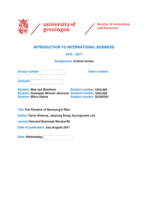 HBR review 1 - - EBP003A05: Introduction to International