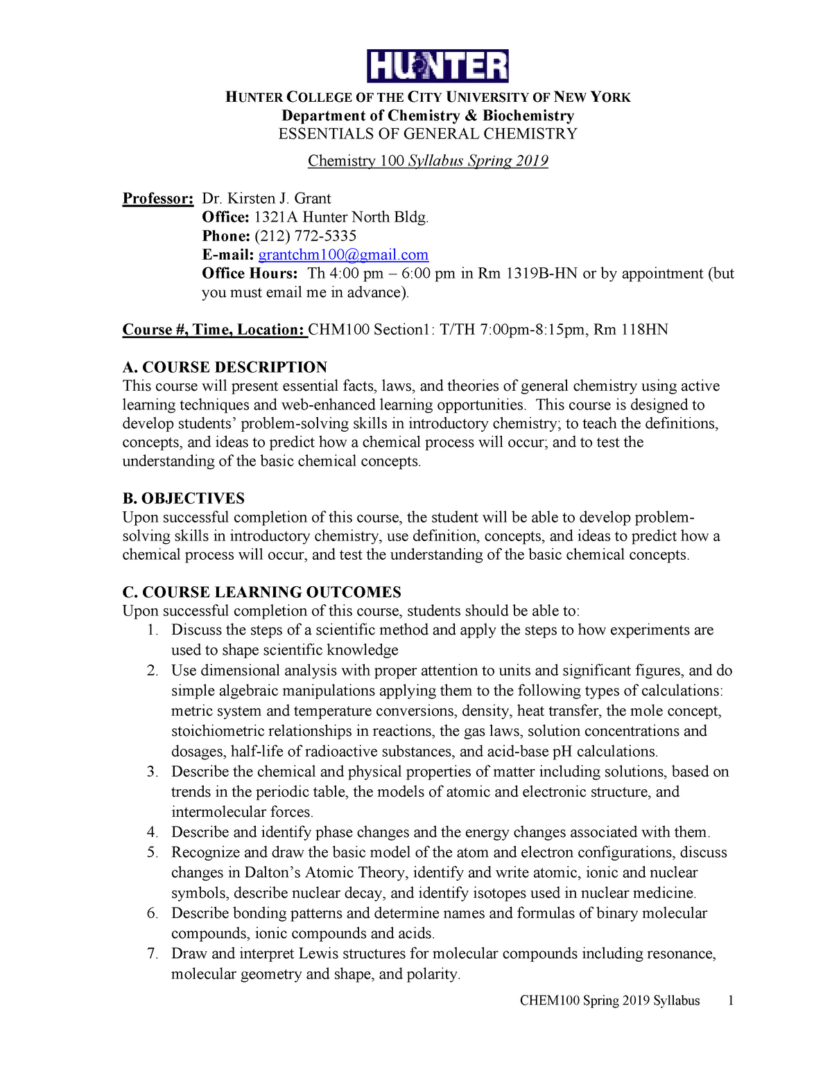 CHEM 100 00 - Essentials of General Chemistry (SP19) - CHEM