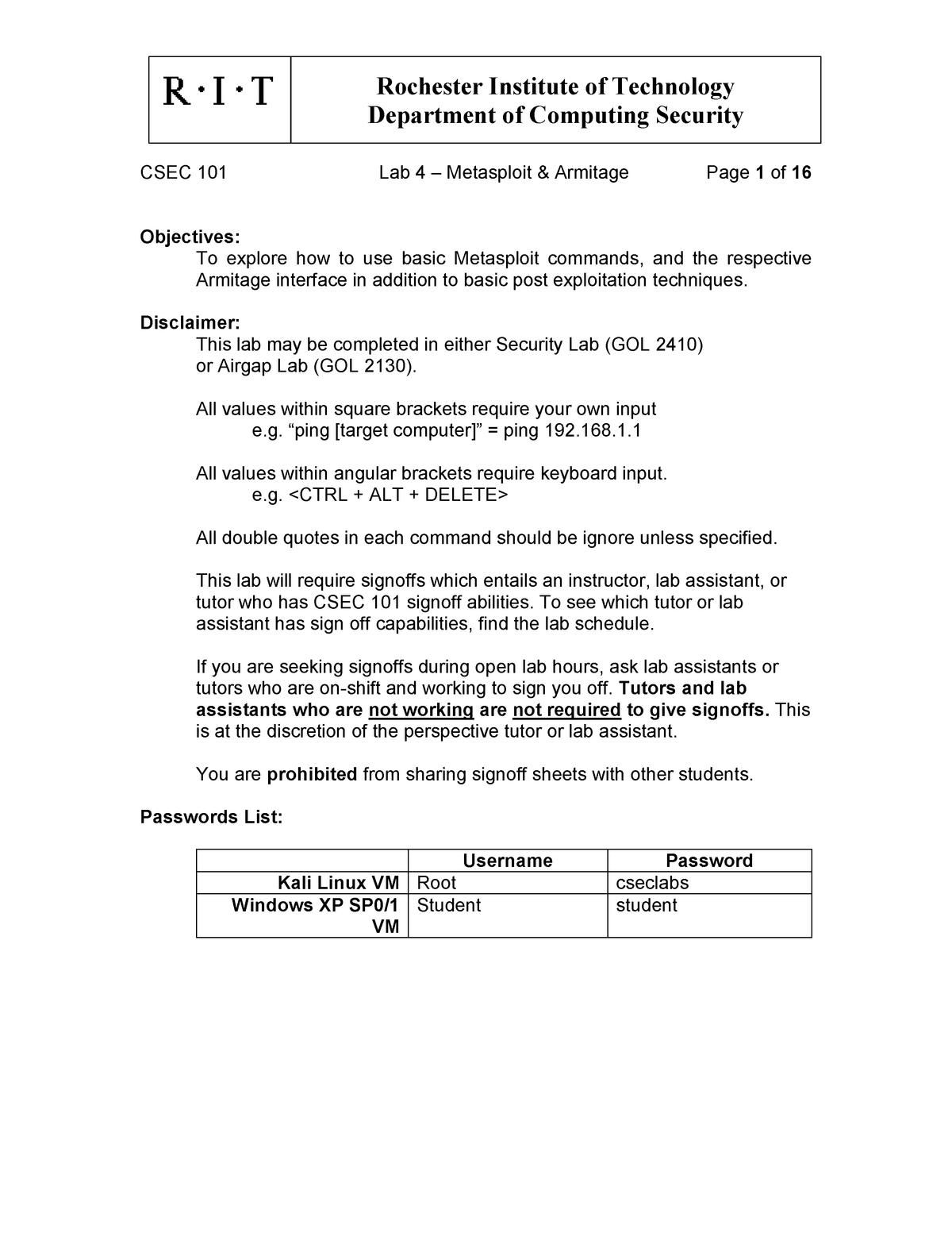 Lab 4 – Metasploit & Armitage - CSEC 101: Fundamentals of