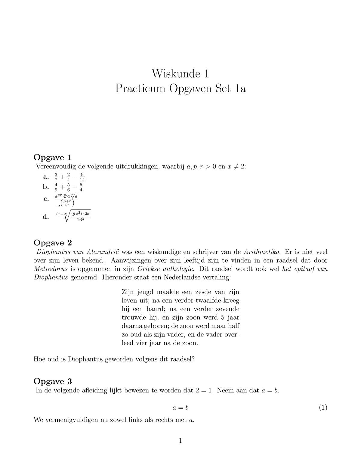 Wiskunde Practicum Opgaven Set 1a Feb11003 Eur Studocu