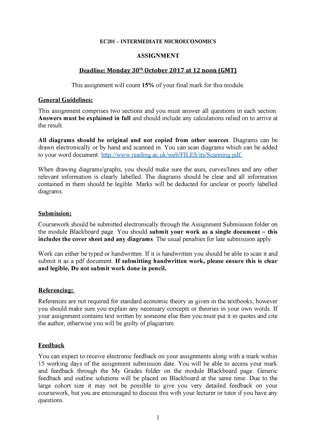 EC201 Assignment - EC201: Intermediate Microeconomics - StuDocu