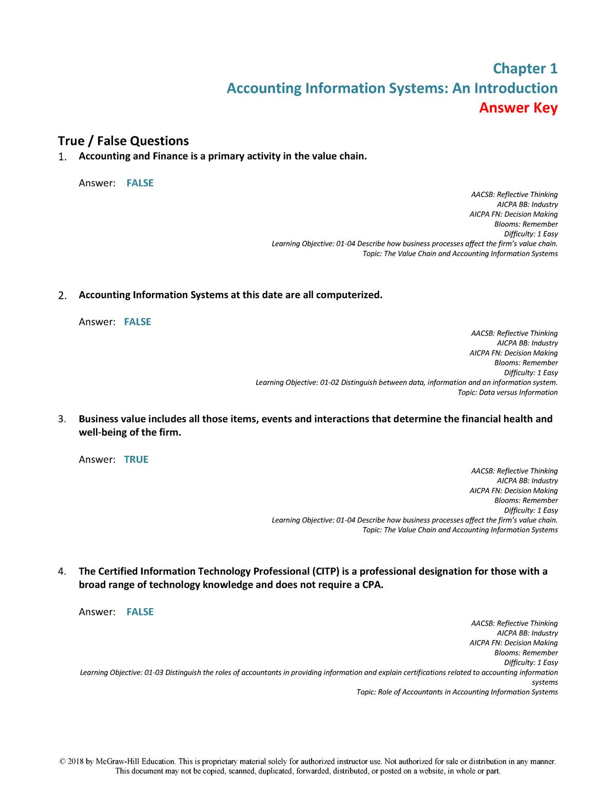 Richardson AIS 2e Test Bank Chapter 1 Final - ACCT 3004: Accounting
