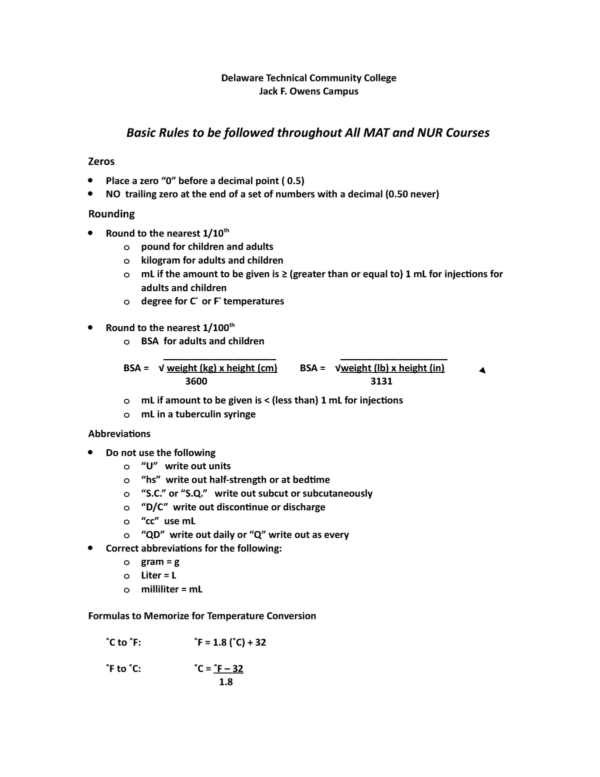 Math Rules for Nursing - - StuDocu