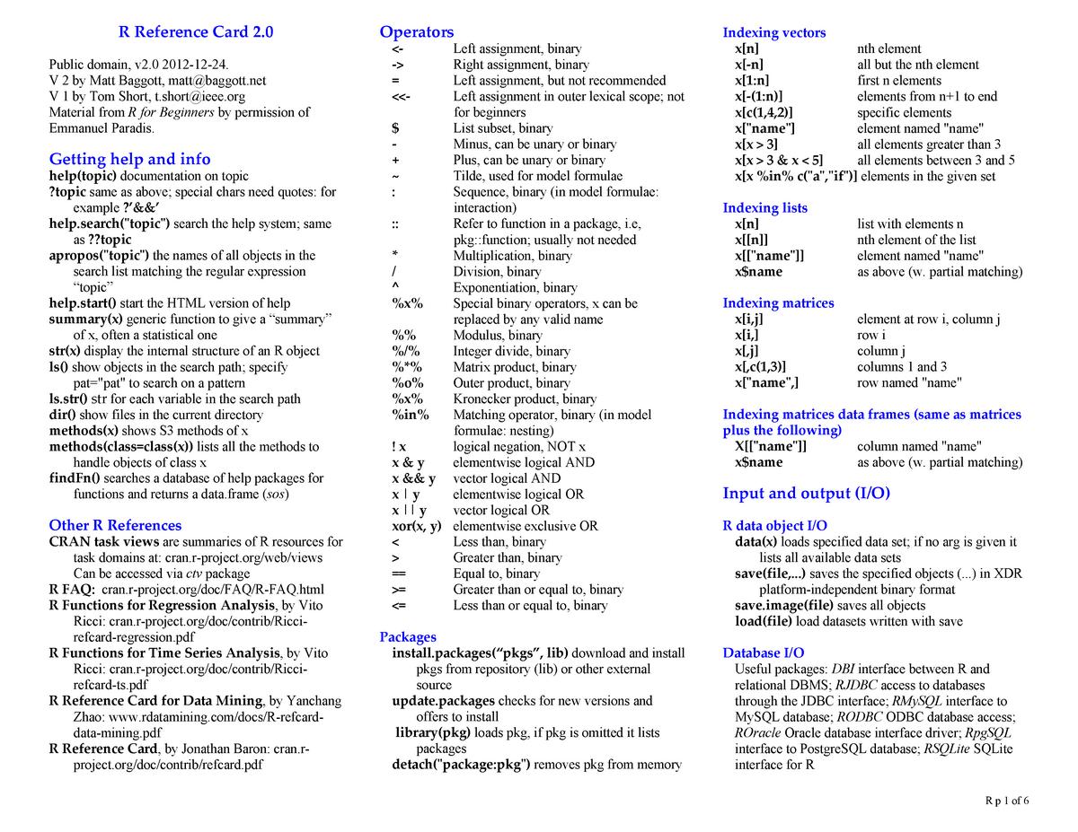 R Programming Cheatsheet - STAT 5301 - StuDocu
