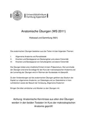 Praktisch - Anatomische Übungen - WS11/12 - 62-345.2: Grundlagen der ...