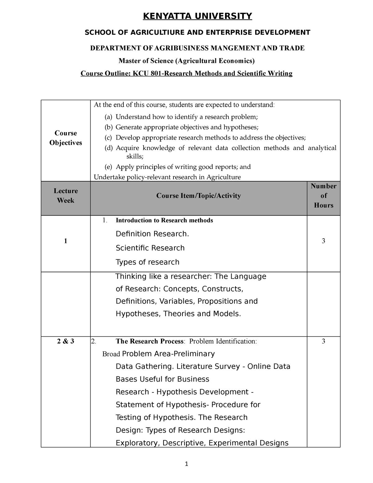 KCU 801 Research Methods - KCU 301: Research Methods - StuDocu