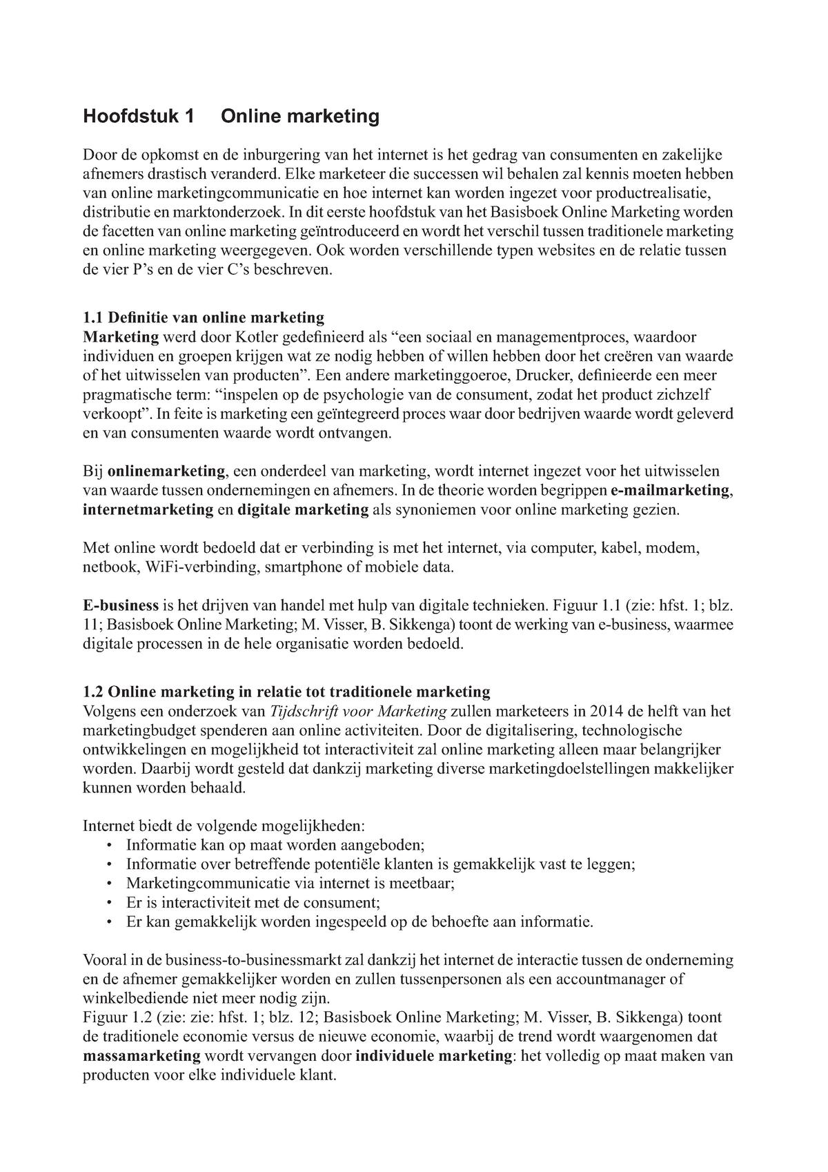 Samenvatting Basisboek Online Marketing Ppostma Sales