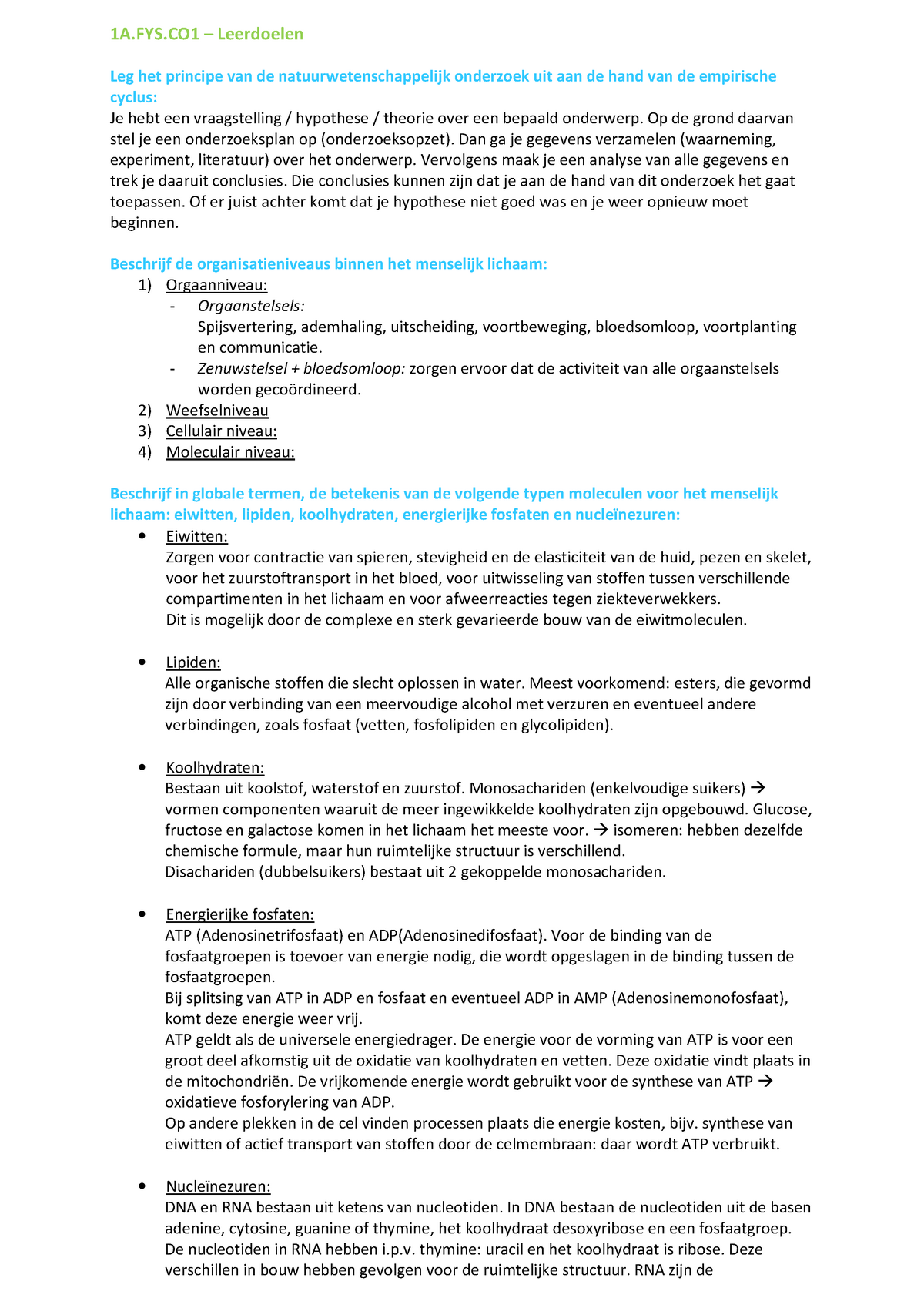 Samenvatting Leerdoelen 1afys Fysiologie Gfy 1gm1 12