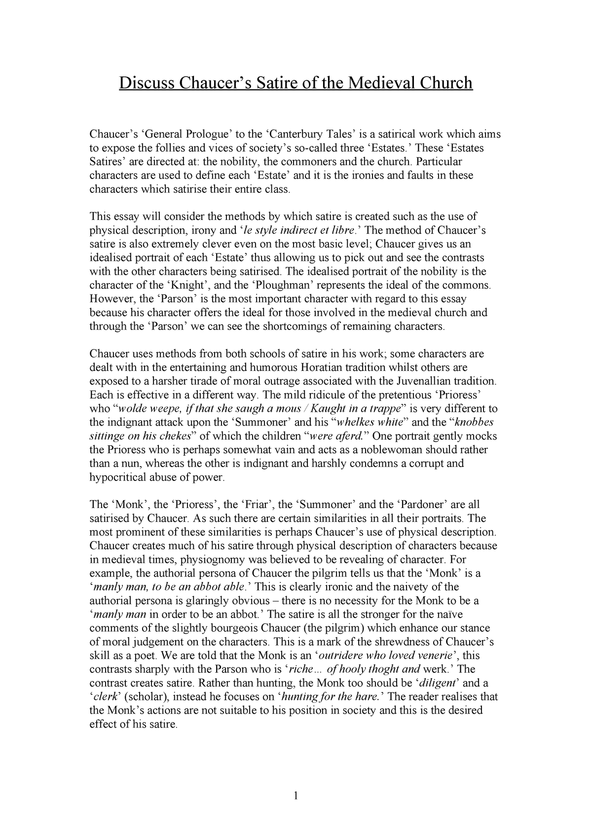 Chaucer Medieval Church Satire - 64021034: Literatura Inglesa I
