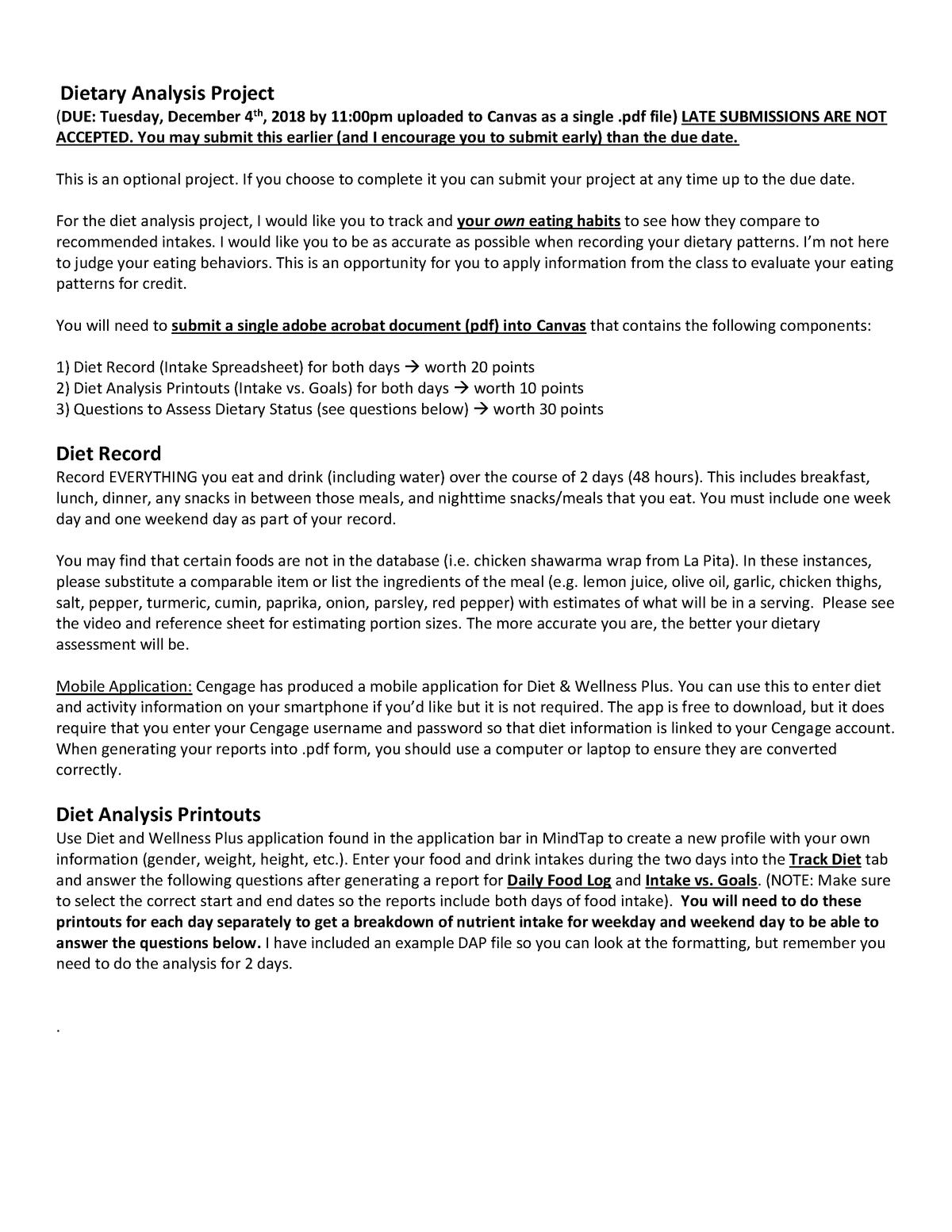 Dietary Analysis Project Instructions - NFS2030 - WSU - StuDocu