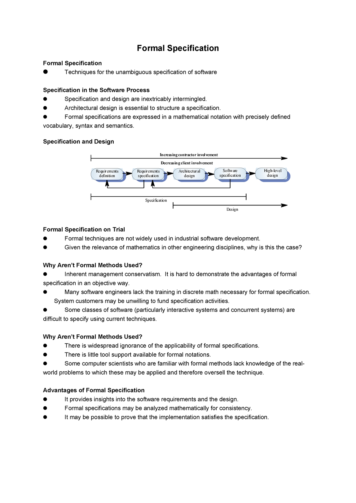 Ch10 Formal Specification 612 Software Engineering Studocu