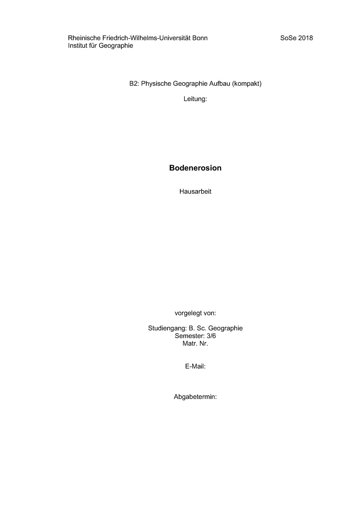 Hausarbeit Bodenerosion 641032106 Physische Geographie Aufbau