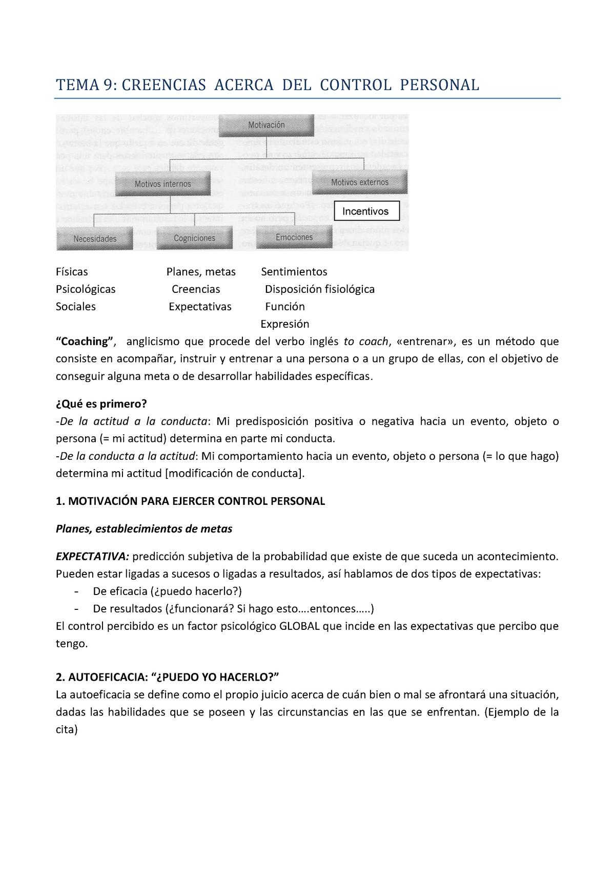 Tema 9 Creencias Acerca Del Control Personal 25903 Studocu