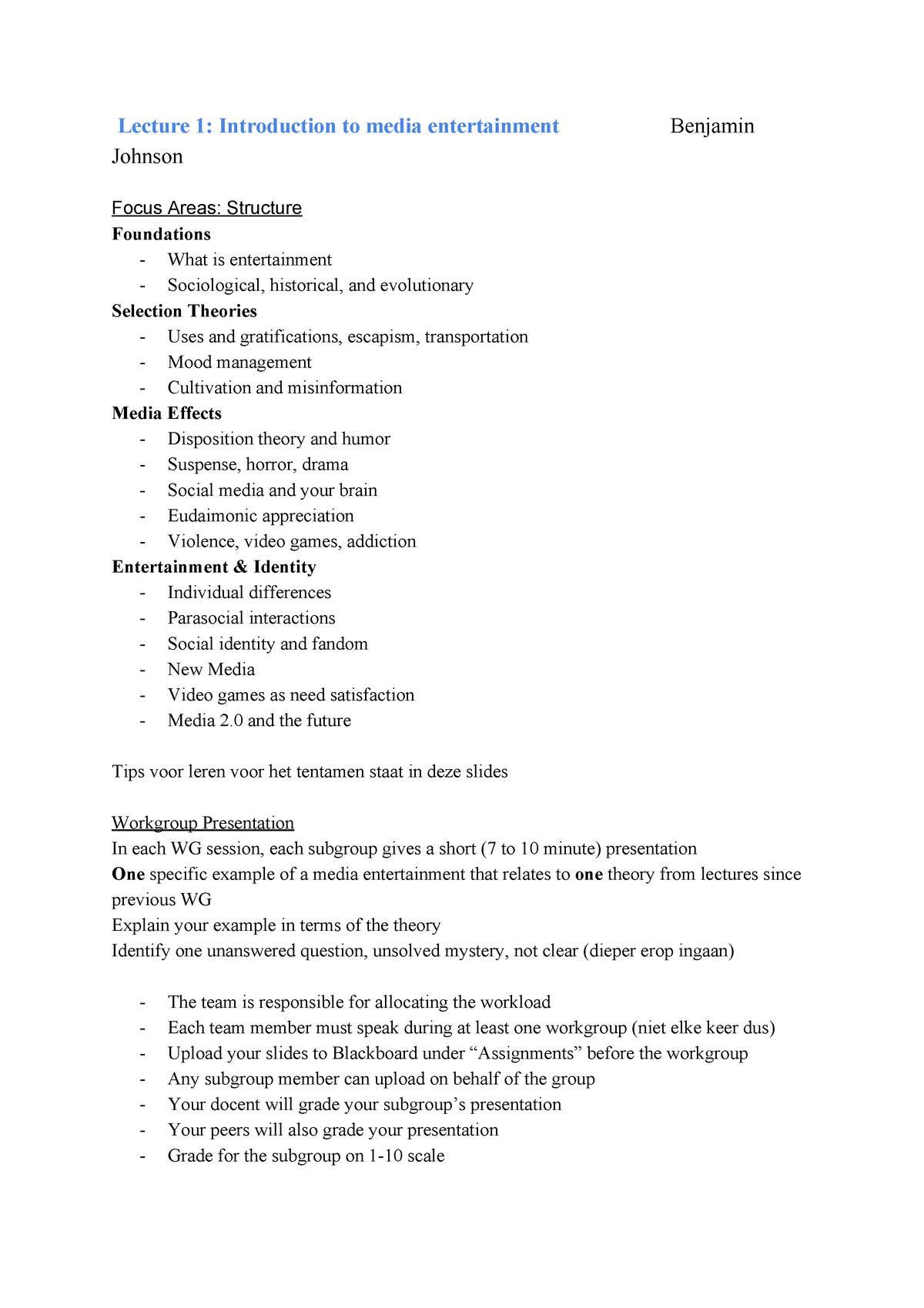 College-aantekeningen, colleges 1-16 - S_ME: Media