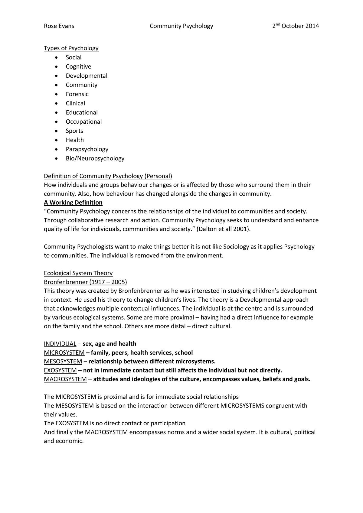 Lecture notes, lectures 1-2,6-8 - Community psychology - StuDocu
