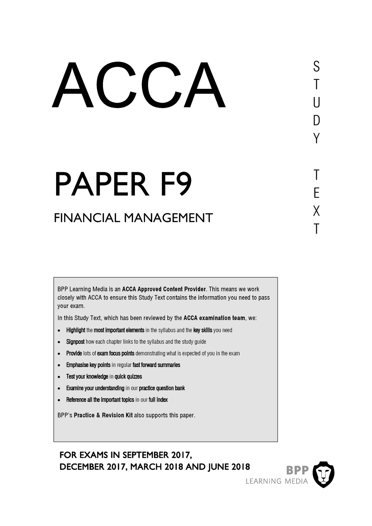 ACCA F9 Study Text 2018 - International Finance BMAN30060