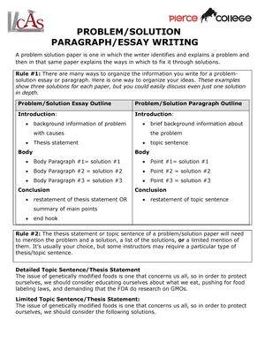 problem solution paragraph essay writing   eng  english   studocu