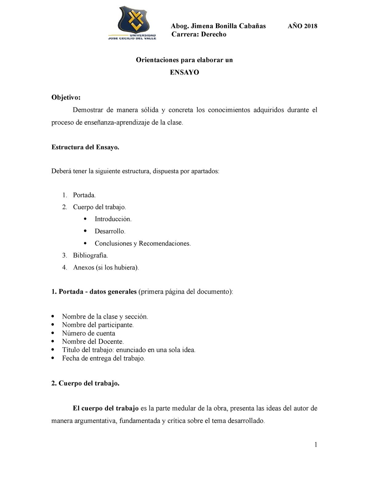 Orientaciones Para El Ensayo Español General Eg 011 Unah