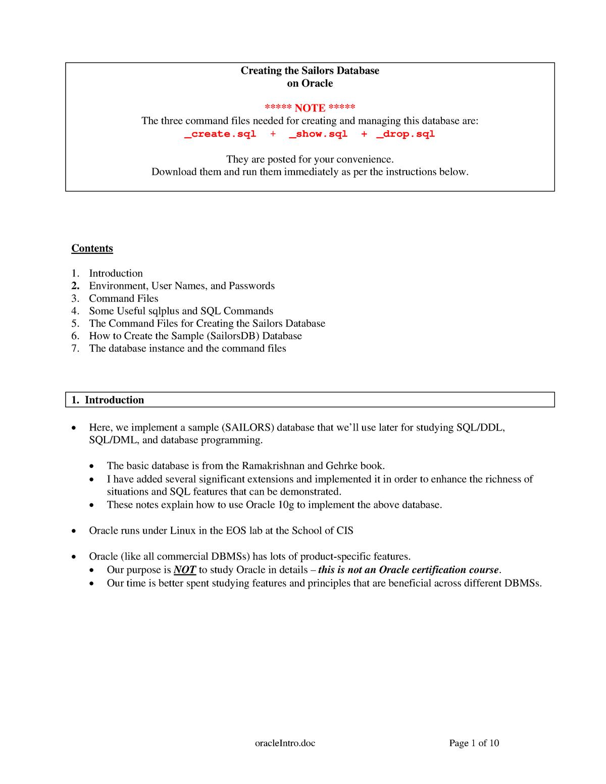 Oracle Intro - CIS 353: Database - StuDocu