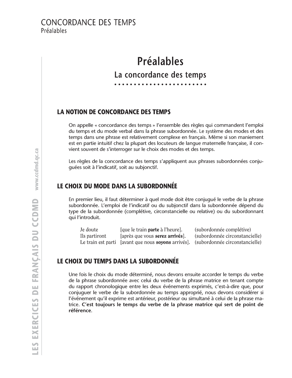 La Concordance Des Temps Frances Studocu