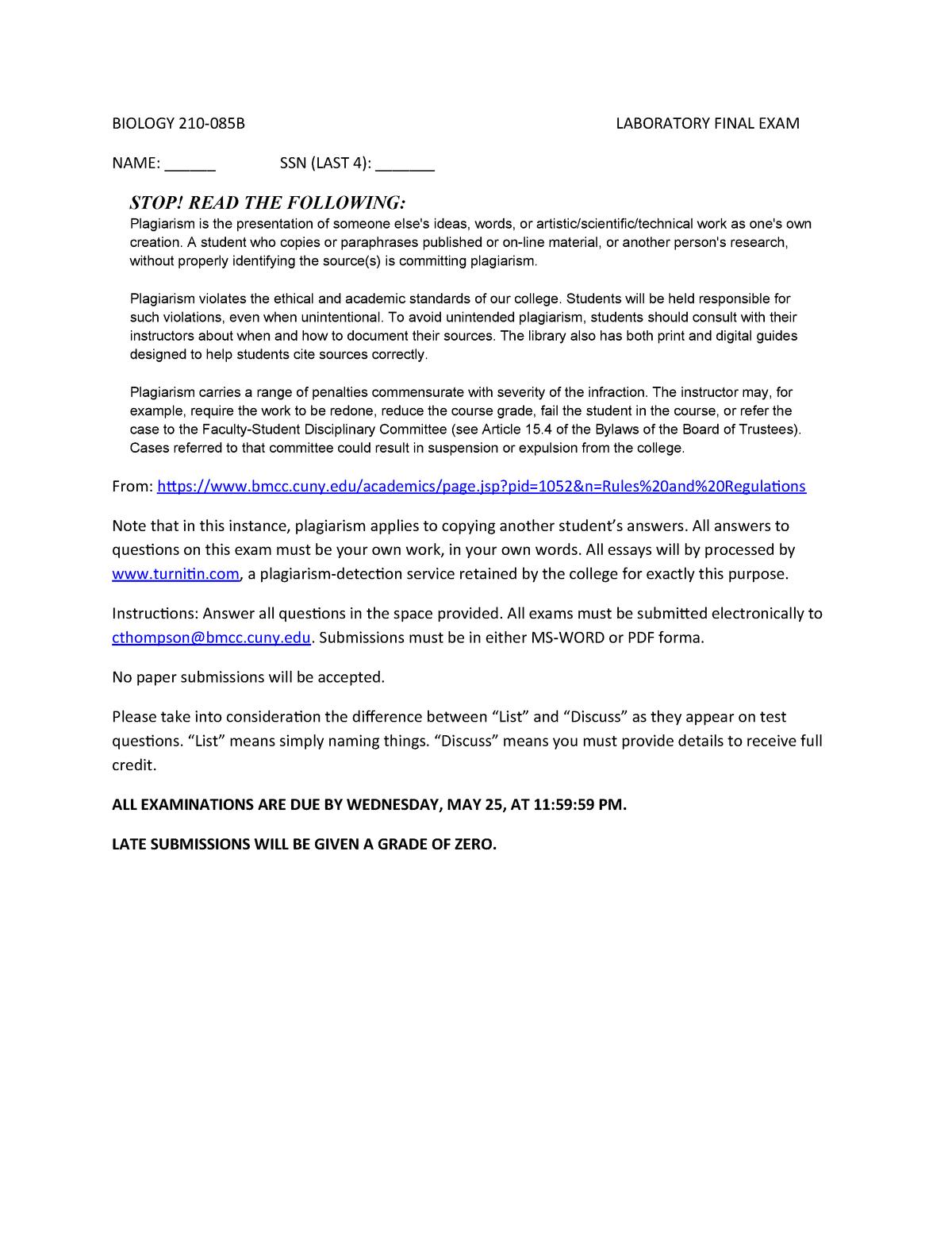 BIO 210 Lab Final__Professor Thompson - BIO 210 Biology I