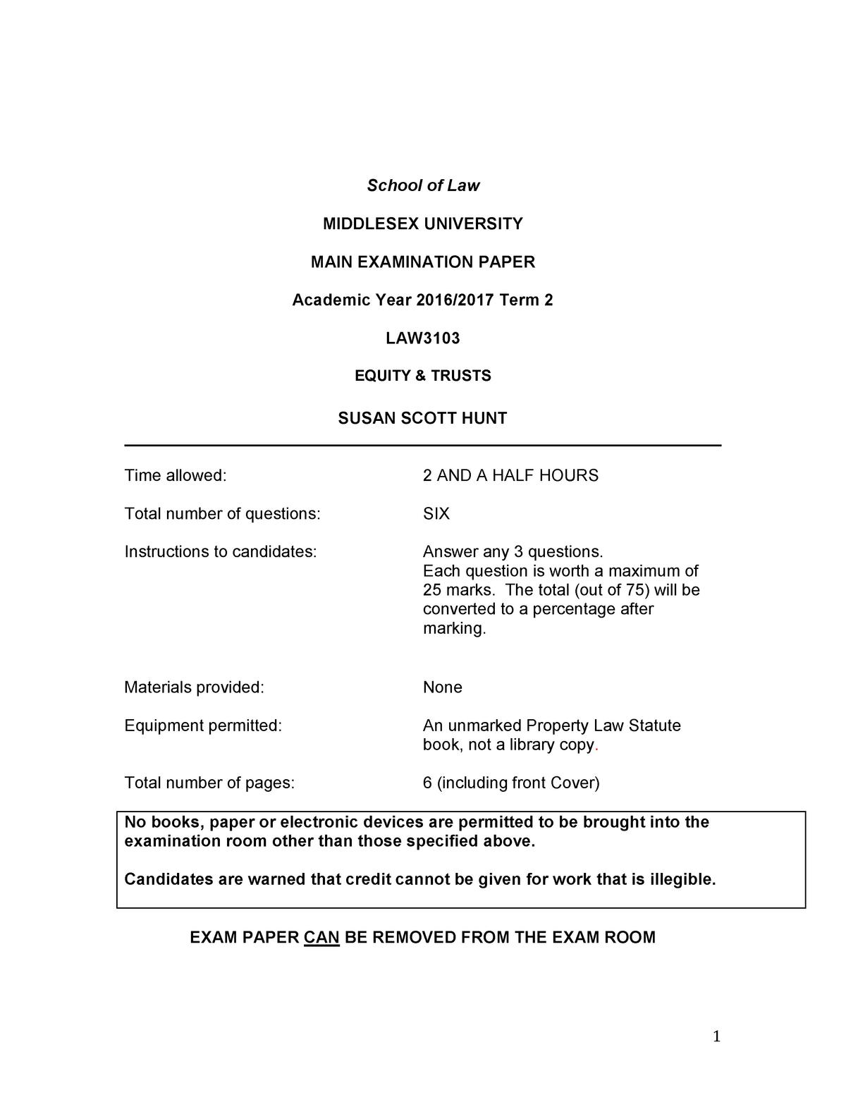 Exam 2017 - LAW3103: Equity And Trusts - StuDocu
