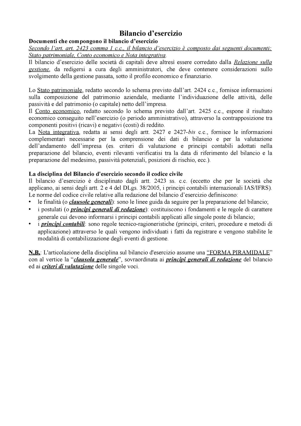 Il Bilancio D Esercizio Di Cagno A000073 Studocu
