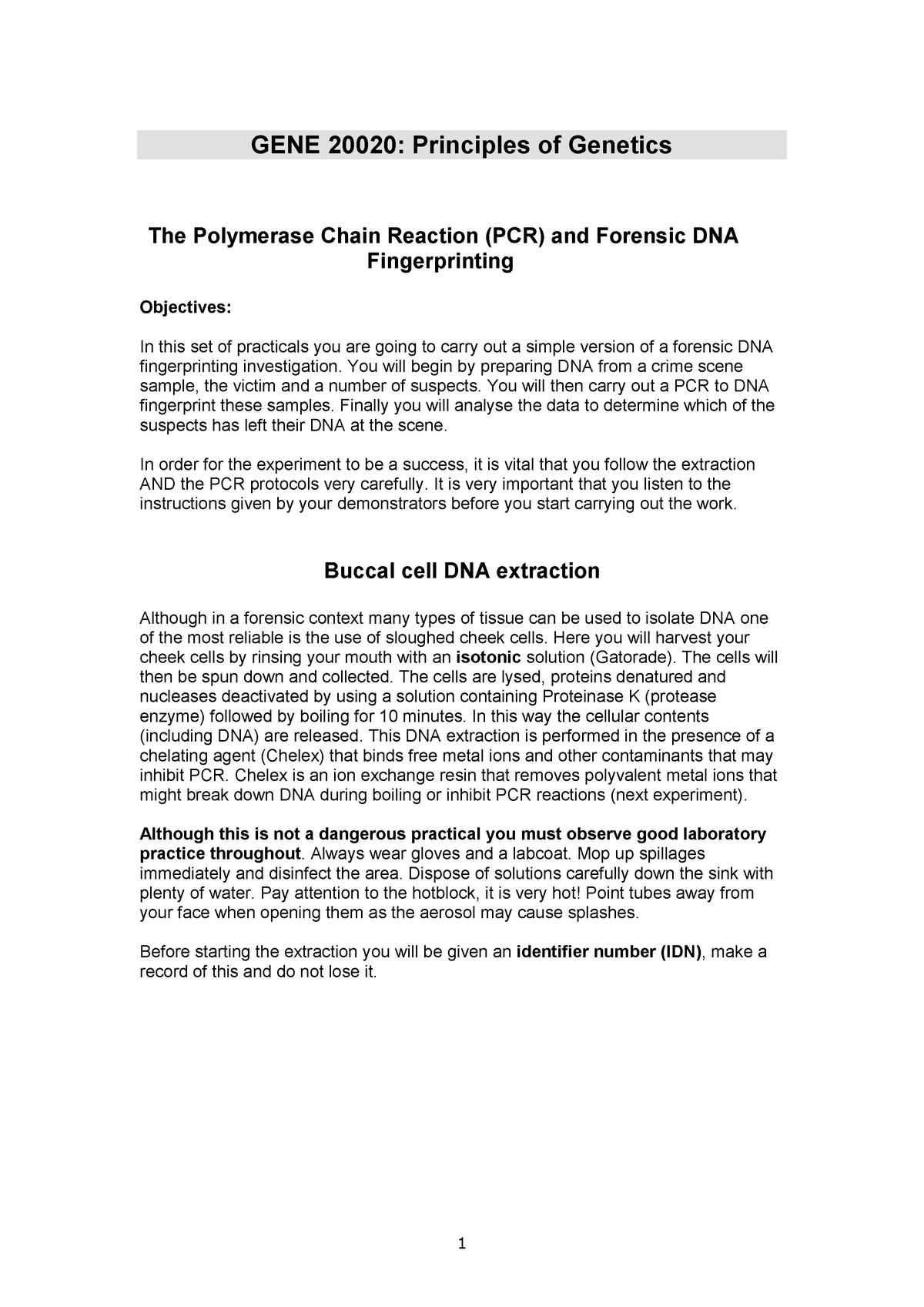 Principles of genetics lab manual: lab 1 and 2 - GENE20020