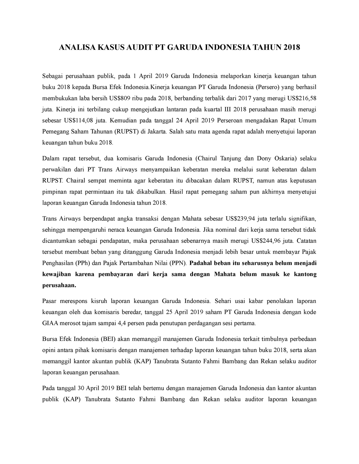 Analisa Kasus Audit Pt Garuda Indonesia Tahun 2018 Studocu