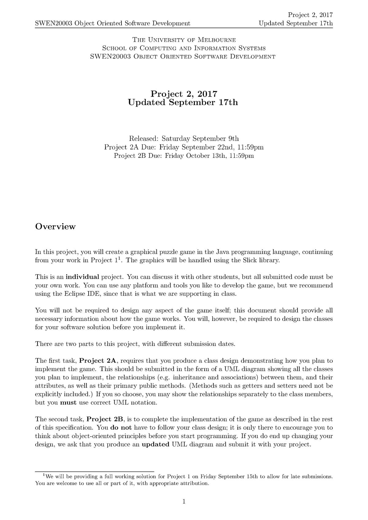 Assignment 1 - Specification - SWEN20003 - Unimelb - StuDocu