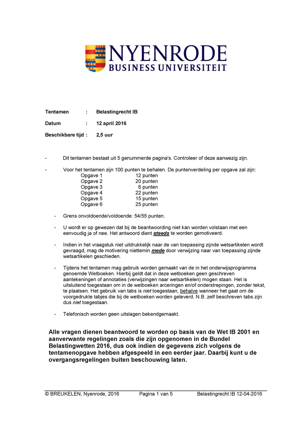 Tentamen 12 April 2016 Vragen En Antwoorden Studeersnel