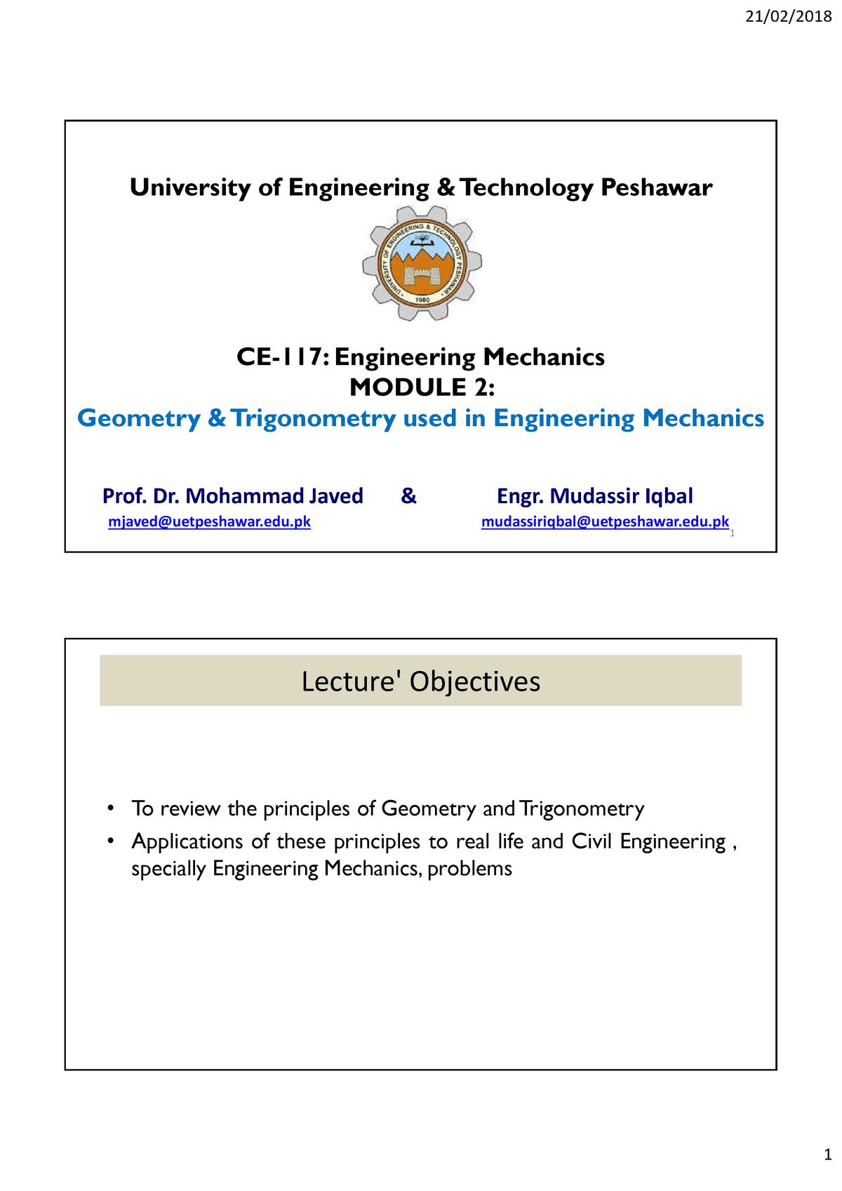 engineering mechanics statics - ce 117 - StuDocu