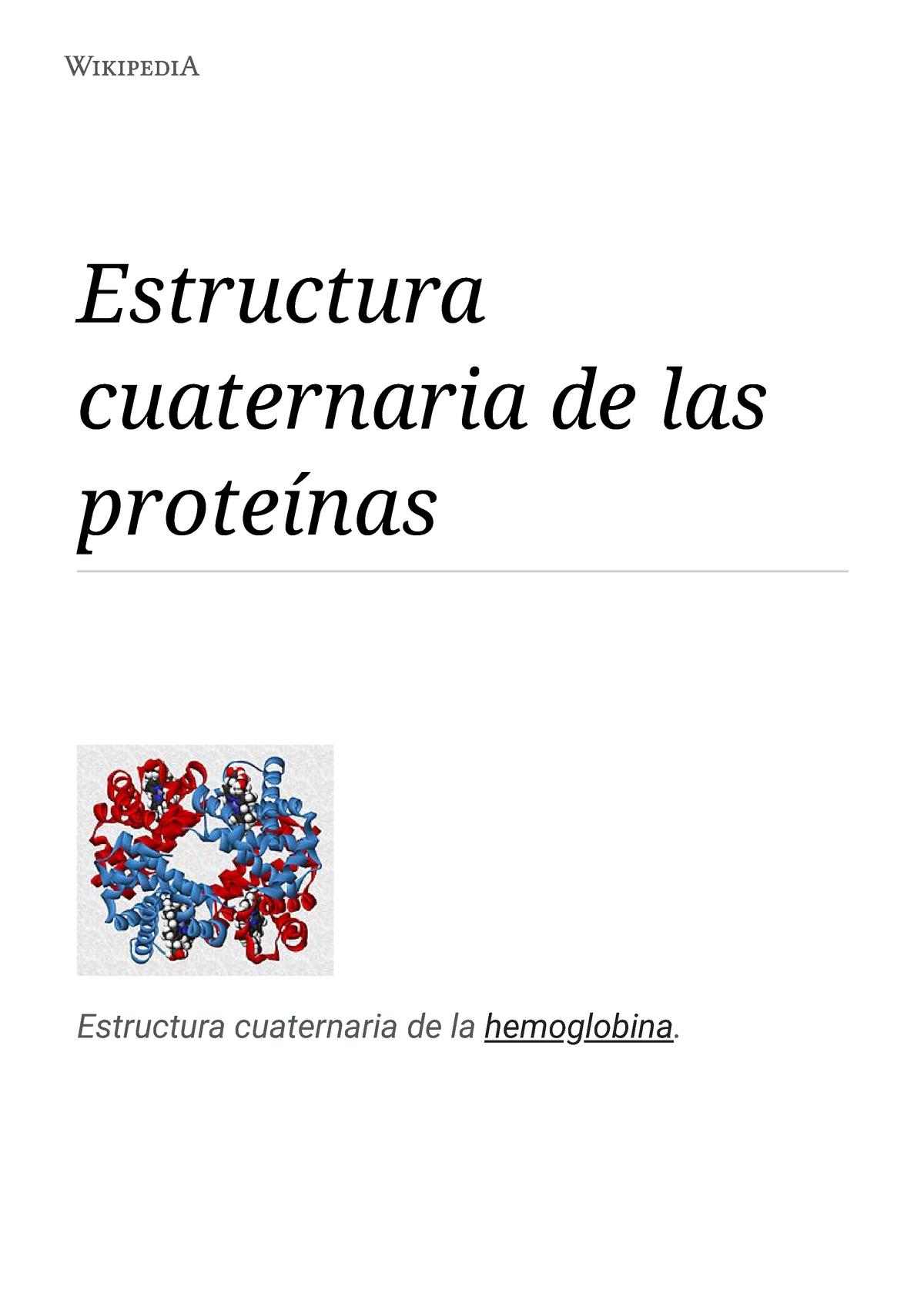Estructura Cuaternaria De Las Proteínas Wikipedia La