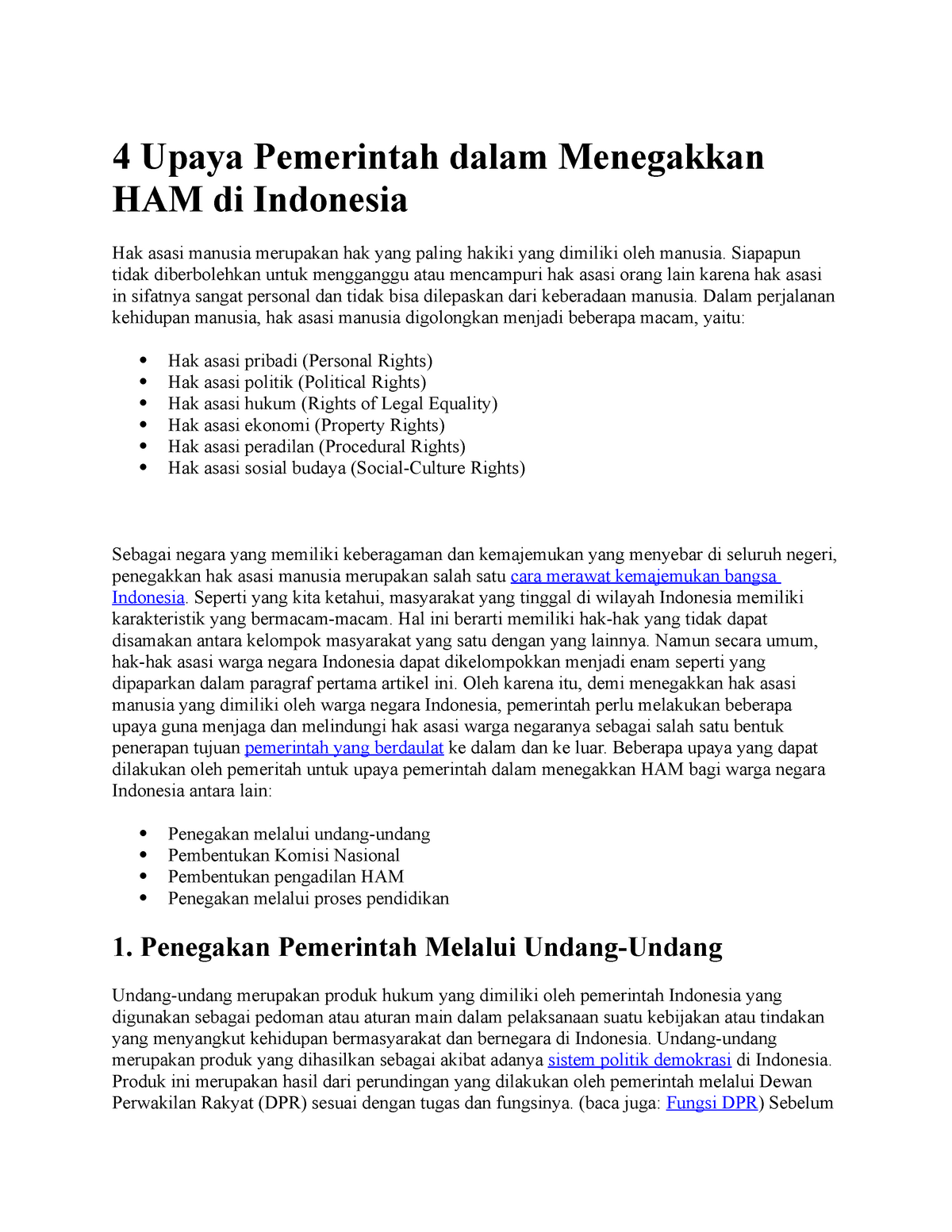4 Upaya Pemerintah Dalam Menegakkan Ham Di Indonesia Studocu
