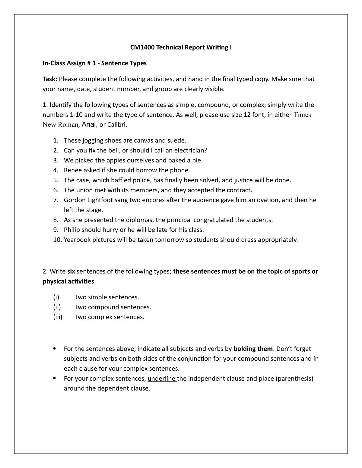 In-class Assignment #1 Sentences - CM1400: Technical Report