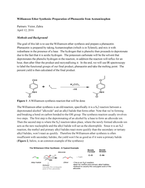 Williamson Ether Synthesis Preparation of Phenacetin from